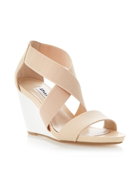 Dune Georgey Colour Block Wedge Sandals Nude