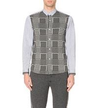 Tomorrowland Houndstooth Panel Cotton Shirt Blue