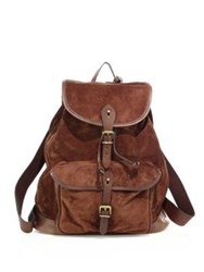 Polo Ralph Lauren Leather Drawstring Backpack Brown
