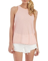 Free People Long Beach Ribbed Tank Top Petal Pink