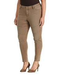 Lauren Ralph Lauren Plus Stretch Skinny Moto Jeans Brown