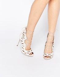 Asos Pastime Lace Up Heels Pale Pink