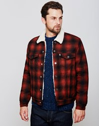 Levi's Type 3 Sherpa Trucker Jacket Red Plaid