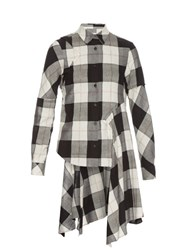 Maison Martin Margiela Raw Edge Asymmetric Checked Shirt White Black