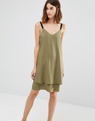 Warehouse Double Layer Cami Dress Khaki Green