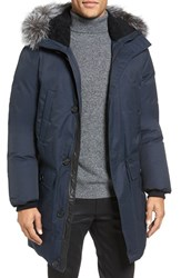 Mackage Men's 'Vaughn' Down Jacket With Genuine Fur And Shearling Trim Navy