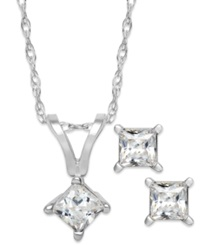 Macy's Princess Cut Diamond Pendant Necklace And Earrings Set In 10K White Gold 1 4 Ct. T.W.