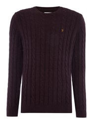 Farah Norfolk Cable Knit Crew Neck Jumper Bordeaux