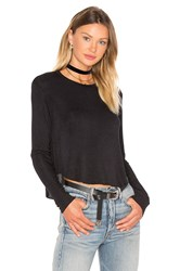 Bobi Draped Rib Long Sleeve Crop Top Black