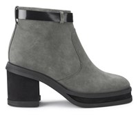 Purified Women's Patricia 1 Chunky Heeled Leather Ankle Boots Grey