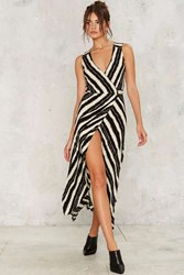 Striping Young Woman Wrap Dress Black White