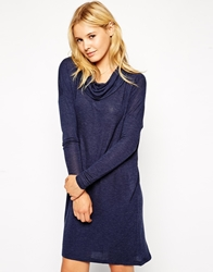 Vero Moda Long Sleeve Cowl Neck Dress Navy