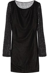 Tart Collections Caramia Paneled Velour And Corded Lace Mini Dress Black