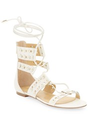 Ivanka Trump Cathy Leather Lace Up Gladiator Sandals White