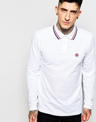 Pretty Green Polo Shirt With Tipping Long Sleeves White