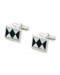 David Donahue Onyx And Mother Of Pearl Argyle Cuff Links Silver