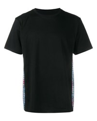 Sophnet Floral And Check Print Cotton T Shirt Black Multi Coloured