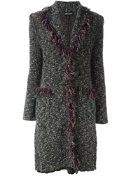 Emporio Armani Fringed Boucle Knit Coat
