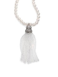 Oscar De La Renta Bridal Faux Pearl And Crystal Tassel Pendant Necklace Crystal Silver