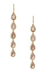 Melinda Maria Leaf Smoky Topaz Drop Earrings Metallic