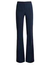 Burberry Contrast Stitch Flared Trousers Navy
