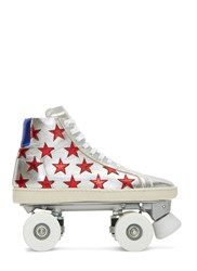 Saint Laurent California Metallic Starry Sneaker Roller Skates Silver