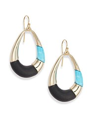 Alexis Bittar Lucite Colorblock Teardrop Earrings Black