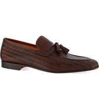 Magnanni Woven Tasselled Loafers Brown