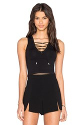 Central Park West Lace Up Crop Top Black