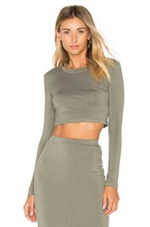 Blq Basiq Long Sleeve Crop Top Sage