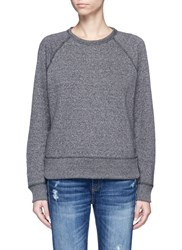 Rag And Bone Eyelet Raglan Sleeve French Terry Sweatshirt Grey