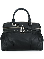 Twin Set Double Zipped Large Tote Black