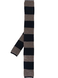 Eleventy Woven Striped Neck Tie Blue