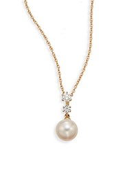 Saks Fifth Avenue 7.5 8Mm Cultured White Pearl Diamond And 18K Yellow Gold Pendant Necklace