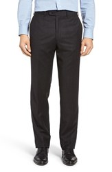 Jb Britches Men's Big And Tall J.B. Flat Front Solid Wool And Cashmere Trousers Charcoal