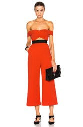 Self Portrait Off Shoulder Flare Jumpsuit In Red