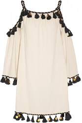 Rachel Zoe Off The Shoulder Embellished Silk Noil Mini Dress Ivory