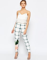 Ted Baker Trellis Check Crop Pant White