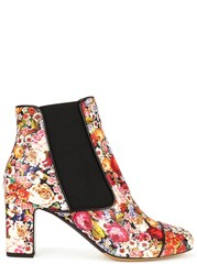 Tabitha Simmons Micki Floral Leather Ankle Boots Multicoloured