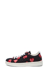 Comme Des Garcons Play Low Top Convas Sneakers In Black Red