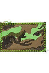 Valentino Rockstud Neon Printed Canvas And Leather Clutch Army Green