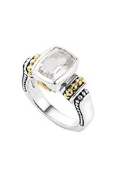 Women's Lagos 'Caviar Color' Small Semiprecious Stone Ring White Topaz