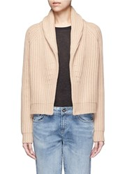 Vince Wool Cashmere Chunky Rib Knit Cardigan Brown