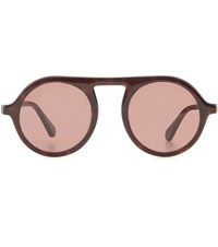 Stella Mccartney Chain Embellished Round Sunglasses Brown