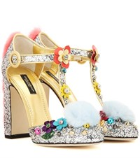 Dolce And Gabbana Fur Trimmed Embellished Glitter Pumps Silver