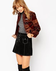 Asos Jacket In Patchwork Leather Multi