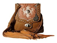 American West Winslow Fringe Flap Crossbody Taupe Rose Silver Cross Body Handbags Brown