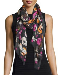 Oscar De La Renta Floral Modal And Cashmere Scarf Black Multicolor Black Multi