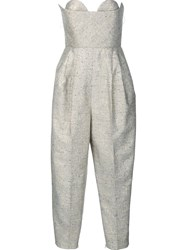 Delpozo Strapless Jumpsuit Grey