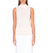 Reiss High Neck Sleeveless Knit Oyster